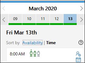 FindTime 日付の [空き時間] オプションと [時刻] オプション。