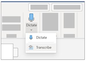 [ディクテーション] ドロップダウンと [文字起こし] の選択を示す画像。