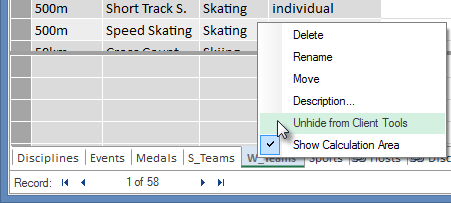 Excel クライアント ツールからテーブルを非表示にする方法