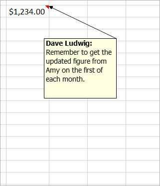 """$1,234.00 のセルに、次のような古いコメントが添付されています。""""Dave Ludwig: この数字は正しいですか?"""""""