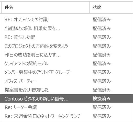 メッセージ追跡の結果の例を示すスクリーンショット。