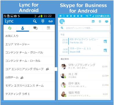 Lync と Skype for Business を並べたスクリーンショット