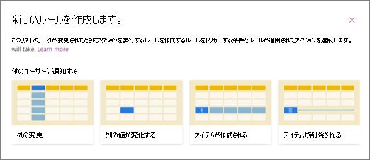 ユーザーに通知する場合のルール テンプレートの選択のスクリーンショット