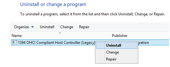 The screen shot of uninstalling the 1394 OHCI Compliant Host Controller (Legacy)
