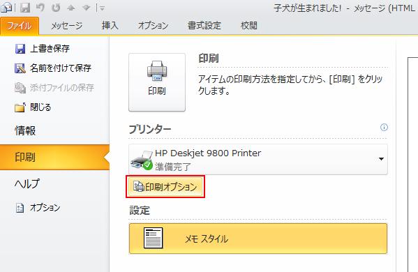 [印刷オプション] をクリックします。