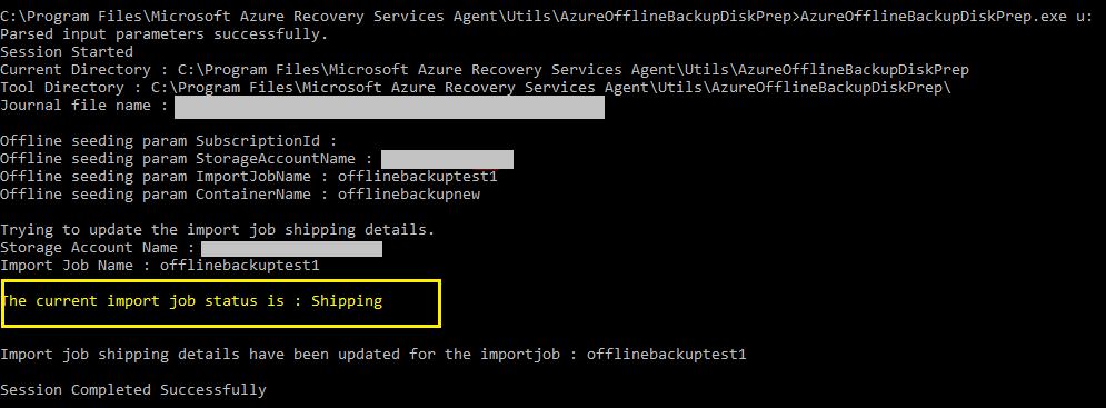 AzureOfflineBackupDiskPrep.exe ユーティリティ