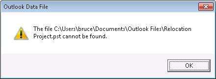 Outlook データ ファイル (.pst) が見つからないことを示すダイアログ ボックス