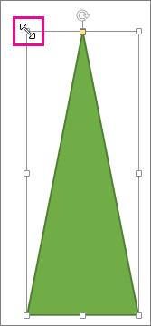 サイズ変更ハンドルを強調表示で示した図形