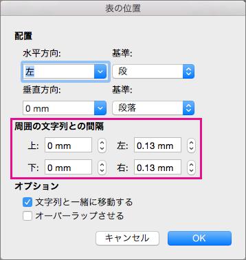 [周囲の文字列との間隔] で選択したテーブルと本文テキストとの間隔を設定します。
