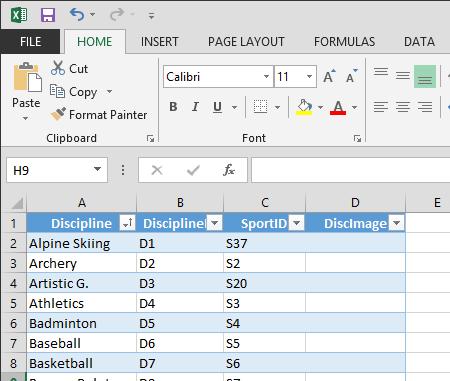 Excel でのテーブルの拡張