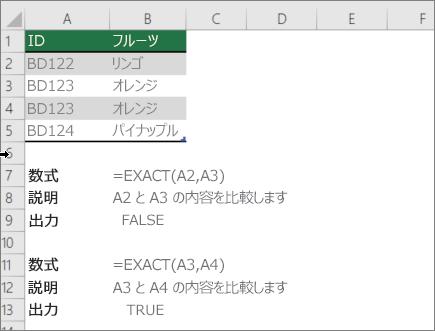 EXACT 関数を使用して、別の 1 つのセルを比較する例