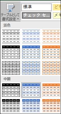 Excel の [テーブルとして書式設定] のスタイル ギャラリーで選択できるスタイル