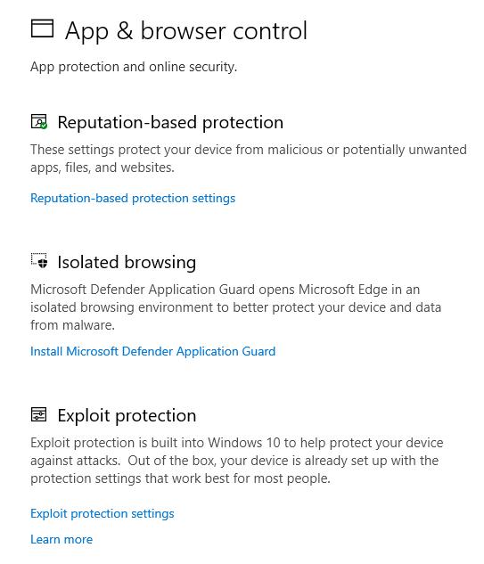 Windows セキュリティでのアプリとブラウザーの制御