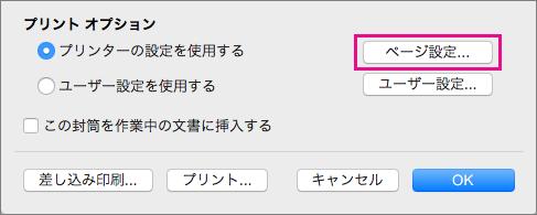 [ページ設定] をクリックして、プリンターから提供される構成から封筒サイズとレイアウトを選びます。