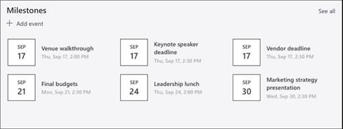 イベント Web パーツのスクリーンショット