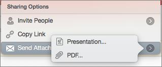 PPT for Mac のメールを共有するオプション