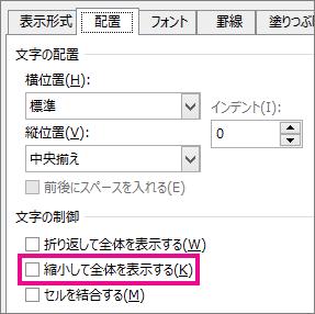 [セルの書式設定] ダイアログ ボックスの [配置] タブの [縮小して全体を表示する]