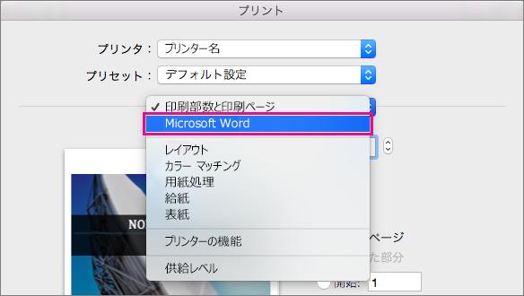 [プリント] ダイアログ ボックスで、[Microsoft Word] を選んで、プリントのその他の設定を構成します。