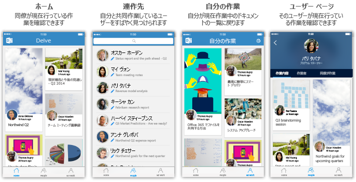 Delve for iPhone の 4 つの画面と説明の文字列