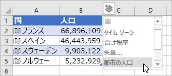 追加されたデータの 2 つ目の列