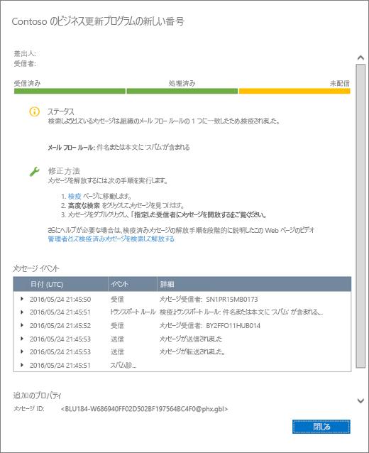 メッセージ追跡の詳細の外観の例を示すメッセージ追跡の詳細ページのスクリーンショット。