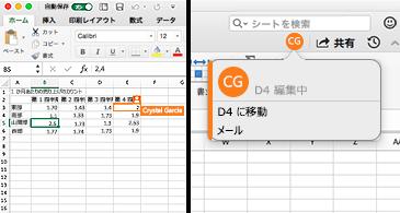左側にオレンジ色の枠線を持つセルが表示され、右側にはユーザーのイニシャルと強調表示されたセルの座標を含むバブル (そのユーザーが該当するセルの内容を編集していることを示す) が表示されているワークシート