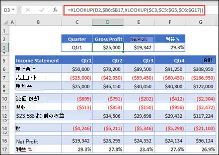 2 つの XLOOKUP をネストして、表から水平データを返すために使用される XLOOKUP 関数の画像。 数式: =XLOOKUP(D2,$B6:$B17,XLOOKUP($C3,$C5:$G5,$C6:$G17))