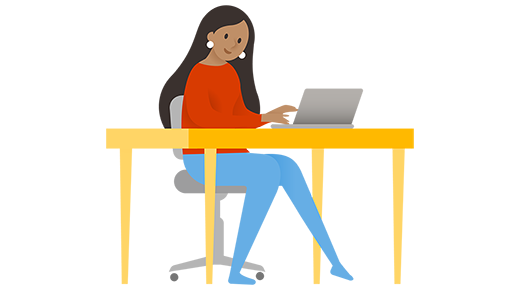 PC で作業している女性
