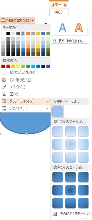 グラデーションのギャラリーは [描画ツール]、[書式]、[塗りつぶし] から開かれる