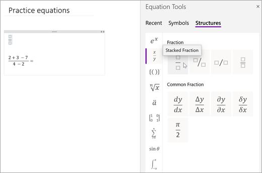 [構造] を選択し、カテゴリを選択して使用できる数式構造を参照します。