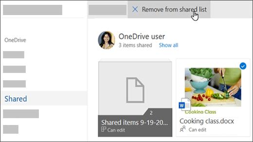 上部の [共有リストから削除] オプションが表示されているファイルの選択
