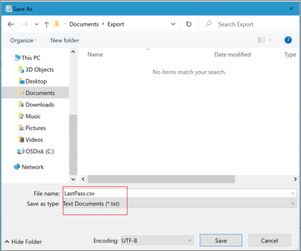 デスクトップ LastPass の CSV ファイルの保存