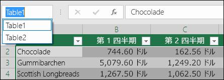 数式バーの左側の Excel のアドレス バー