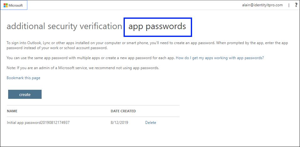 [アプリ パスワード] タブが強調表示された [アプリ パスワード] ページ