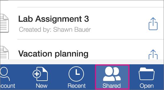 iOS で他のユーザーが自分と共有しているファイルを開く方法を示すスクリーン ショット