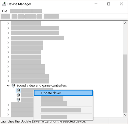 Right-click the device listing and select Update driver