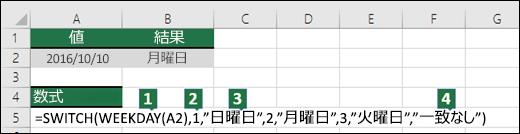 SWITCH 関数の引数の詳細