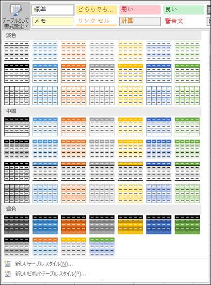 Excel の表スタイル ギャラリー