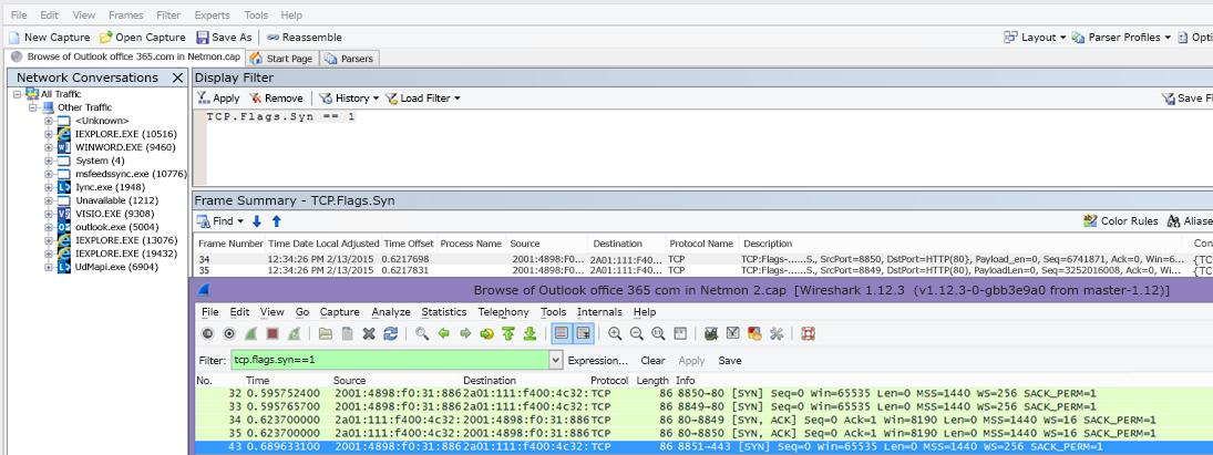 Netmon または Wireshark の両方のツールに TCP.Flags.Syn == 1 を指定して Syn パケットをフィルター処理する。
