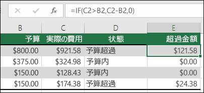 """セル E2 の式は =IF(C2>B2,C2-B2,"""""""") です"""