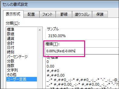 負のパーセンテージ値を赤色で表示するユーザー設定の書式