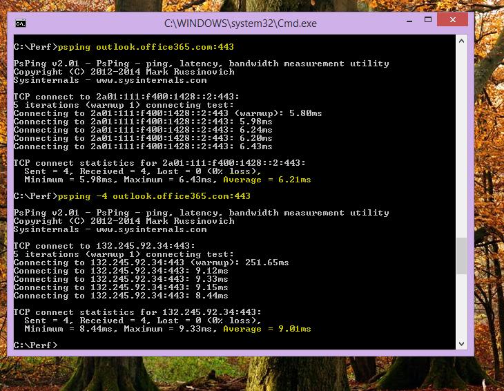 クライアント コンピューターでコマンドラインに PSPing を指定して、IP アドレスを見つける。