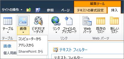リボンの [画像] ボタンをクリックし、コンピューター、アドレス、または SharePoint から選択します。