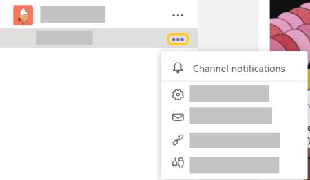 [その他のオプション] メニューのチャネル通知ボタンの画像。
