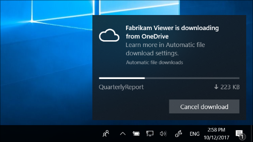 Download notification received when OneDrive Files On-Demand is turned on
