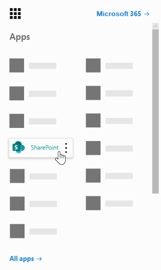 SharePoint アプリが強調表示されている Office 365 アプリ起動ツール