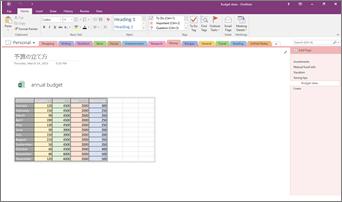 Excel スプレッドシートが埋め込まれた OneNote 2016 ノートブックのスクリーンショット