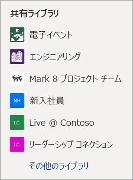 OneDrive Web サイトの SharePoint サイトの一覧のスクリーンショット。