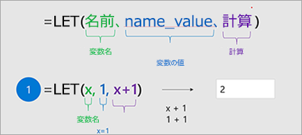 Excel で LET 関数の表示