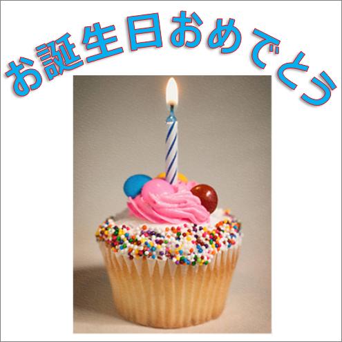 文字 Happy Birthday と図を含むワードアートの例